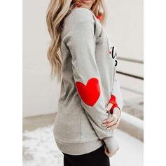 Print Color Block Figure Heart Long Sleeves Hoodie