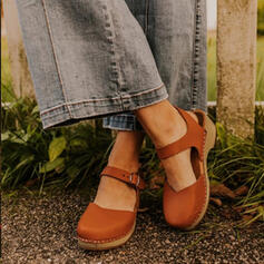 Women's PU Low Heel Wedges Square Toe With Buckle shoes