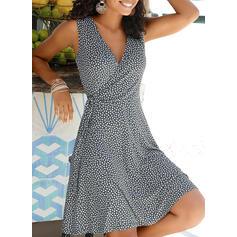 Print Sleeveless A-line Knee Length Casual/Vacation Dresses