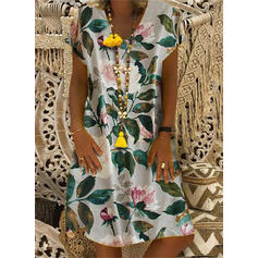 Print/Floral Short Sleeves Shift Knee Length Casual/Boho/Vacation Dresses