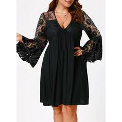 Большой размер ножны Выше колена элегантный Маленький черный Платье