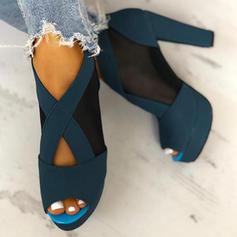 Dla kobiet PU Obcas Slupek Czólenka Otwarty Nosek Buta Obcasy Z Zamek błyskawiczny obuwie