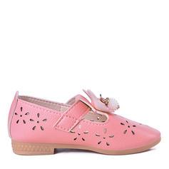 Lányok Műbőr Kerek lábujj Zárt lábujj Lakások Viráglabda cipő -Val Csokornyakkendő tépőzáras
