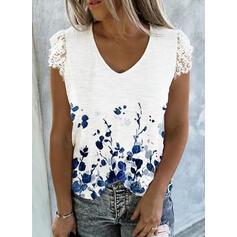 Распечатать Цветочный кружевной V шеи С коротким рукавом Повседневная Блузы