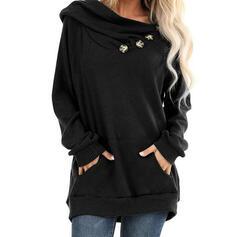 Solid V-Neck Long Sleeves Sweatshirt