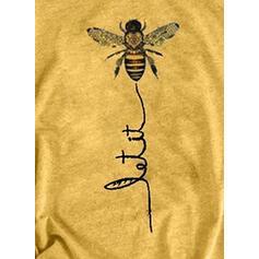 Zwierzęcy Okrągły dekolt Krótkie rękawy Casual T-shirty