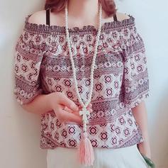 Elegant Simplu Mărgele din lemn cu ciucuri Femei coliere