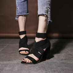 Kvinner PU Stor Hæl Sandaler Pumps Titte Tå med Hul ut sko
