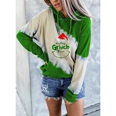 Print Color Block Figure Pockets Long Sleeves Christmas Sweatshirt