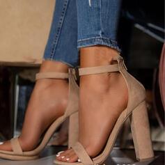 Женский PU Толстый каблук Насосы Peep Toe с пряжка Выдолбить обувь