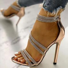 Pentru Femei PU Toc Stiletto Sandale Puţin decupat în faţă cu Ştrasuri Cataramă pantofi