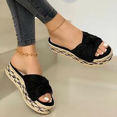 Mulheres PU Sem salto Sandálias Chinelos com Cor sólida sapatos