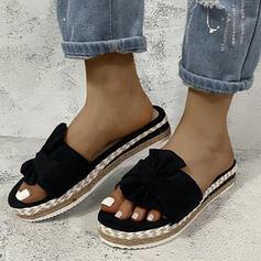 Kvinner Lerret Flat Hæl Sandaler Titte Tå med Sateng Sløyfe Hul ut sko