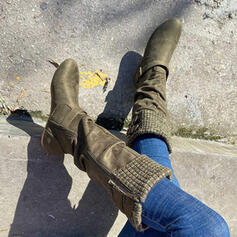 Women's Suede Flat Heel Mid-Calf Boots Round Toe With Buckle Zipper shoes