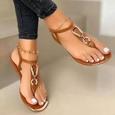 Kvinner PU Flat Hæl Sandaler Flate sko Titte Tå med Ensfarget sko