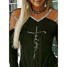 Print Sequins Figure Cold Shoulder Long Sleeves Casual Blouses