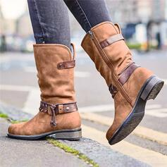Women's Leatherette Low Heel Boots Mid-Calf Boots Round Toe With Zipper Lace-up shoes