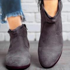 Női Szarvasbőr Chunky sarok Bokacsizma Hegyes orr -Val Cipzár Egyéb Szolid szín cipő