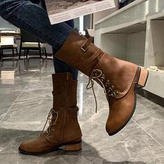 Női Műbőr Alacsony sarok Mid-Calf Csizma Kerek lábujj -Val Szolid szín cipő