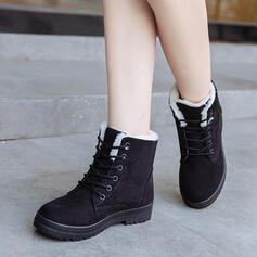 Kvinnor Mocka Flat Heel Stövlar Vinterkängor med Bandage skor
