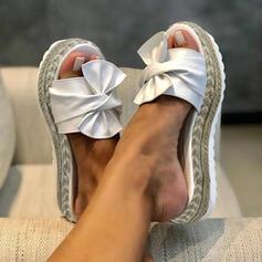 Mulheres Couro Plataforma Sandálias Sapatos abertos Chinelos com Bowknot sapatos