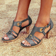 Pentru Femei PU Toc gros Sandale Încălţăminte cu Toc Înalt Puţin decupat în faţă cu Cataramă pantofi