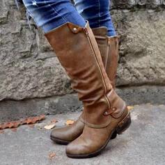 Frauen PU Niederiger Absatz Stiefel-Wadenlang Reitstiefel Round Toe mit Schnalle Reißverschluss Schuhe