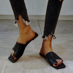 Kvinner PU Flat Hæl Sandaler Flate sko Titte Tå Tøfler Tåring Firkantet tå med Rhinestone Spenne Ensfarget sko