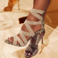 Mulheres PU Salto agulha Sandálias Bombas Peep toe Saltos com Animal da Cópia Zíper sapatos