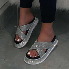 Сандалии Платформа Peep Toe Домашние тапочки с горный хрусталь Выдолбить обувь