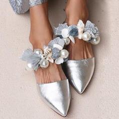 Frauen PU Flascher Absatz Flache Schuhe mit Perle Schuhe