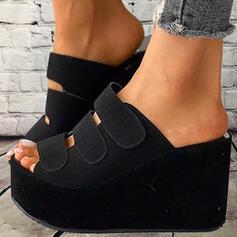 Сандалии Платформа клинья Peep Toe Домашние тапочки с липучка Сплошной цвет обувь