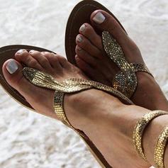 PU Flat Hæl Sandaler Flate sko Titte Tå Flip-Flopper med Annet sko