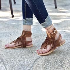 Dla kobiet Zamsz Płaski Obcas Sandały Plaskie Z Frędzle obuwie