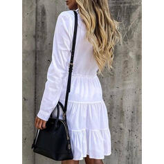 Solid Long Sleeves A-line Knee Length Casual Shirt/Skater Dresses