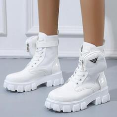 Női PU Alacsony sarok Mid-Calf Csizma Martin csizmák -Val Lace-up Szolid szín cipő
