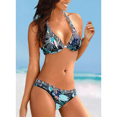 Floral Push Up Halter Sexy Vintage Bikinis Swimsuits