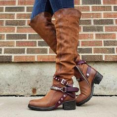 Femmes PU Talon bottier Bottes Bottes hautes avec Boucle chaussures