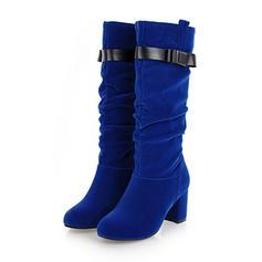 De mujer Ante Cuero Tacón ancho Botas Botas longitud media con Hebilla zapatos