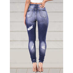 Patchwork Plus Size Ripped Elegant Sexy Denim & Jeans