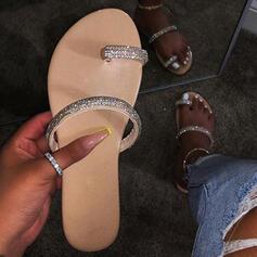 Pentru Femei PU Fară Toc Sandale Balerini Puţin decupat în faţă Şlapi Inel pentru degetul de la picior cu Ştrasuri pantofi