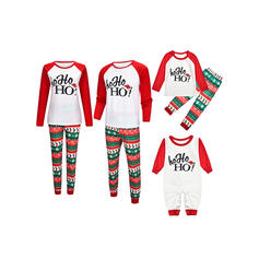 Mektup Baskı Aile Eşleşen Noel Pijamaları