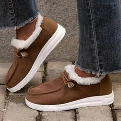 Pentru Femei PU Fară Toc Botine Cizme de Iarnă Deget rotund Cizme de iarna cu Lace-up Blană pantofi