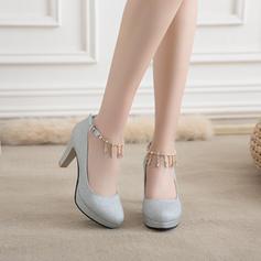 Kvinner Glitrende Glitter Stor Hæl Pumps Platform Lukket Tå med Rhinestone Tassel sko