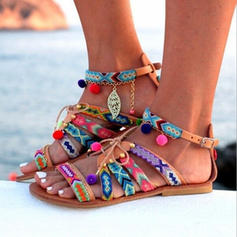 Mulheres PU Sem salto Sandálias Peep toe com Corrente sapatos