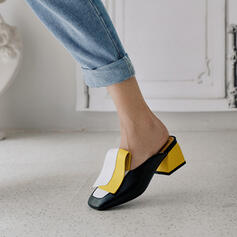 Women's PU Chunky Heel Pumps Closed Toe Slippers With Split Joint shoes