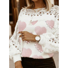 Lace Beaded Heart Round Neck Casual Sweaters