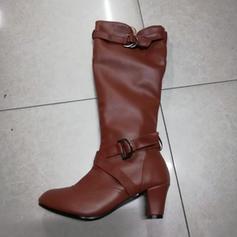 Kvinner Lær PU Stiletto Hæl Pumps Lukket Tå Støvler Mid Leggen Støvler med Spenne Frynse sko