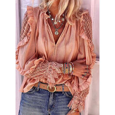 твердый кружевной V шеи Длинные рукова Повседневная элегантный Блузы
