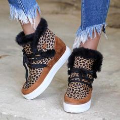 Pentru Femei PU Platforme Înalte Fară Toc Botine Deget rotund Cizme de iarna cu Lace-up Květinový pantofi